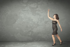 Business person throwing with empty copyspace Stock Images