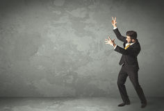 Business person throwing with empty copyspace Royalty Free Stock Photos