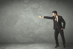 Business person throwing with empty copyspace. In a room Royalty Free Stock Image