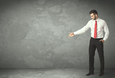 Business person throwing with empty copyspace. In a room Stock Images