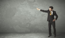 Business person throwing with empty copyspace. In a room Stock Photography