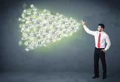 Business person throwing a lot of dollar bills concept Royalty Free Stock Photography