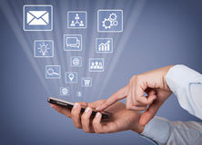 Business Person Touching Smartphone Social Media Stock Images