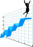 Business person up on company growth success chart Stock Photo