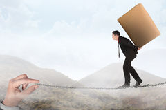 Business person walking on the chain Royalty Free Stock Photography