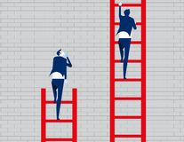 Business person watching leader climb on ladder. Concept business vector illustration royalty free illustration