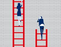 Business person watching leader climb on ladder. Concept business vector illustration stock illustration