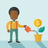Business person watering a growing plant. A happy african business person watering a growing plant with money flower. Growing business concept. A contemporary Royalty Free Stock Photo