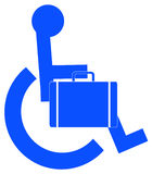 Business person in wheelchair. Handicap or wheelchair person symbol carrying briefcase - vector Royalty Free Stock Photo