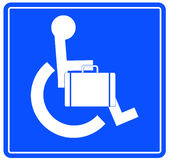 Business person in wheelchair. Handicap or wheelchair person sign carrying briefcase Stock Photography