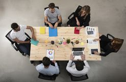 Business person work together in office. concept of teamwork, business partnership and startup. double exposure. Business person work together in a table in royalty free stock photos