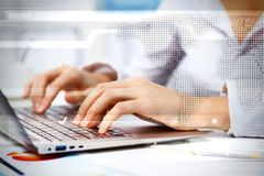 Business person working on computer. Against technology background Stock Images