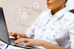 Business person working on computer. Against technology background Stock Photos
