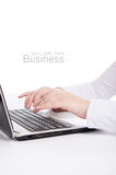 Business person working on computer. white Royalty Free Stock Images