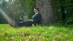 Business person working on laptop, sitting under tree, escaping busy lifestyle. Stock photo royalty free stock photos