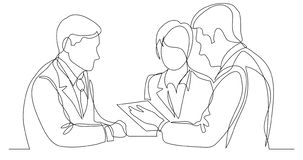 Business persons discussing working contract - one line drawing royalty free illustration