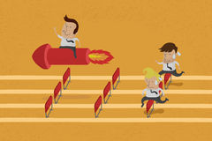 Business persons reaching the goal in a race Royalty Free Stock Image