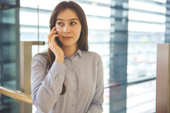 Business phone conversation Stock Photo