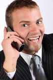 Business Phone Enthusiasm. Portrait Of A Corporate Young Man Being Enthusiastic On Telephone Stock Images
