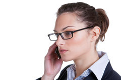 Business phonecall. Attractive businesswoman making a phonecall, isolated on white background Stock Photography