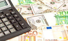 Business picture with money and calculator Royalty Free Stock Images