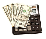Business picture: money and calculator Stock Photography