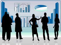Business picture with people silhouettes Royalty Free Stock Image