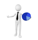 Business Pie Chart. Businessman holding a blue pie chart; great for depicting marketing, statistics, presentation and business concepts Royalty Free Stock Photography