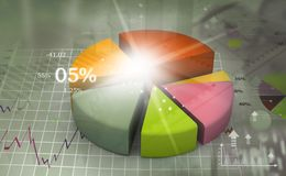 Business pie chart. 3d illustration Stock Photography