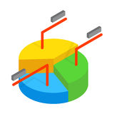 Business pie chart icon, isometric 3d style Stock Photo