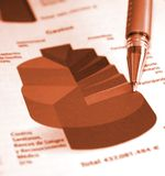 Business pie chart report. Business pie chart in the report Stock Image