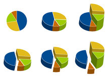 Business Pie charts. 3D colored pie charts with different elevations. Vector File available Stock Photo