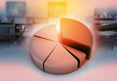 Business pie graph chart. 3d render. financial background Royalty Free Stock Photography