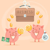 Business and piggy bank Royalty Free Stock Photo