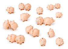 Business Piggy Banks Money. Many piggy banks playing on a white background Royalty Free Stock Images