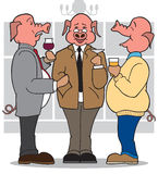 3 Business Pigs. Three pig businessmen enjoying each others company at a party Royalty Free Stock Images