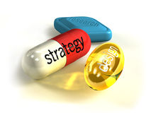 Business Pills f1s. Strategy, research, design. Key points for every successful business Stock Photos