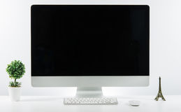 Business place of work with with computer monitor keyboard and a Stock Photography