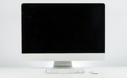 Business place of work with with computer monitor keyboard and m Royalty Free Stock Photography
