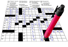 Business Plan Answers Crossword Puzzle Pen. A pen solves a Business Plan Answers Crossword Puzzle Royalty Free Stock Photos