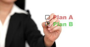Business Plan B. Asian business woman select plan B for business risk concept Stock Images