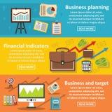 Business plan banner horizontal set, flat style. Business plan banner horizontal concept set. Flat illustration of 3 business plan vector banner horizontal Royalty Free Stock Photos
