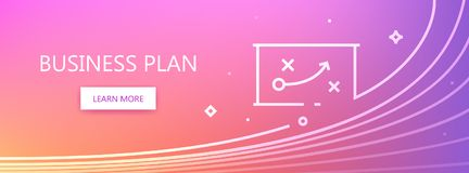 Business plan banner. Magenta, violet and pink colored vector banner with business plan words and plan-scheme in art line style Royalty Free Stock Photos