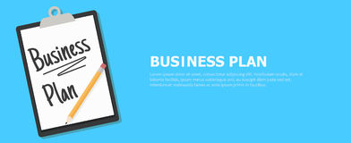 Business plan banner. Tablet with a text and a pencil Royalty Free Stock Photos