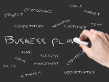 Business plan on blackboard Stock Photo