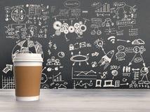 Business plan on blackboard Stock Photo