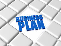 Business plan - blue concept. 3d concept text with reflection with boxes - business plan, blue words Stock Images