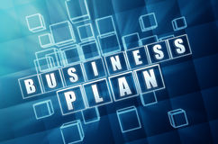 Business plan in blue glass blocks Royalty Free Stock Photos