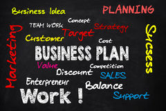 Business plan board. Business plan concept with some possible topic Royalty Free Stock Photo