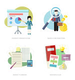Business plan, budget planning, search investors Stock Images